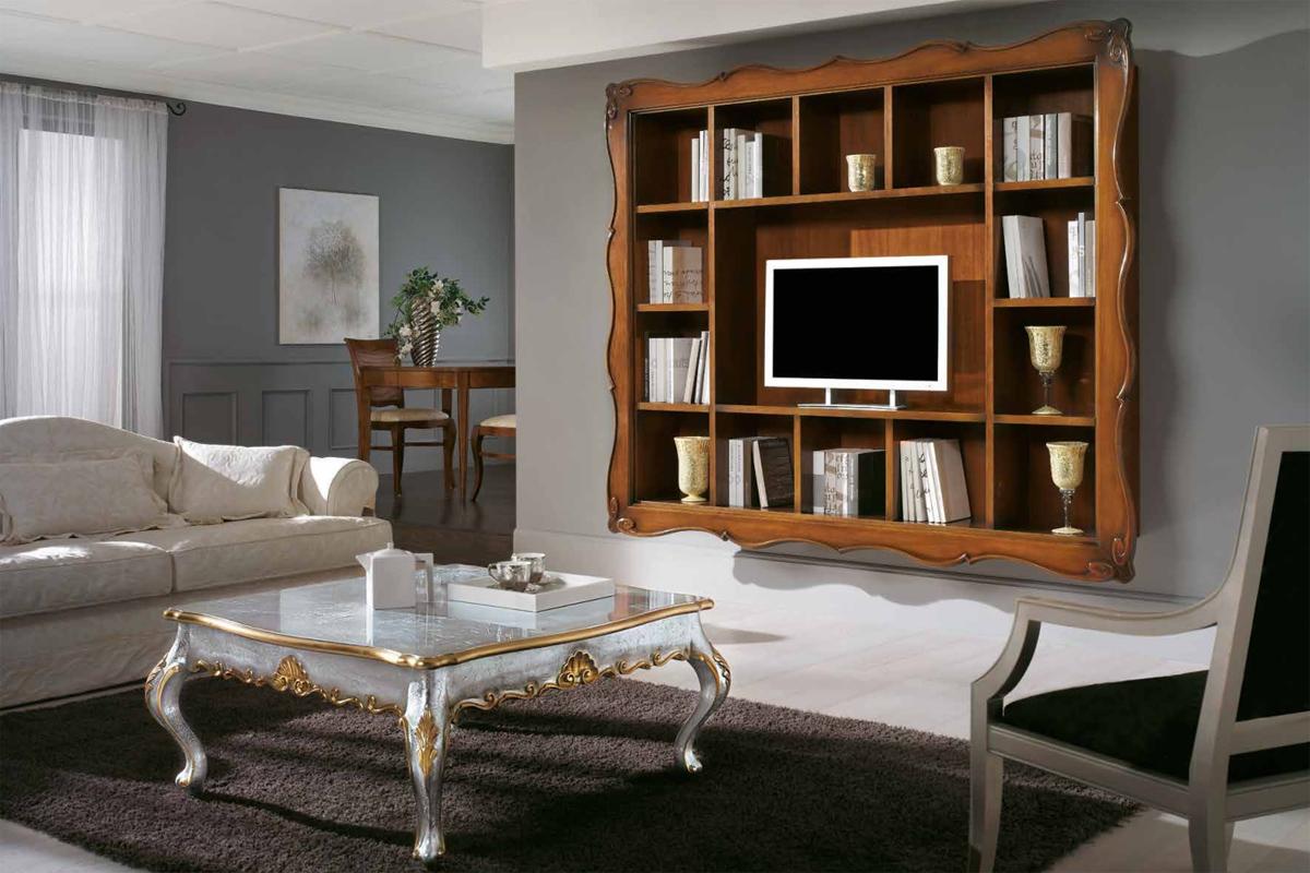 Шкаф для тв с множеством открытых полок в классическом стиле.